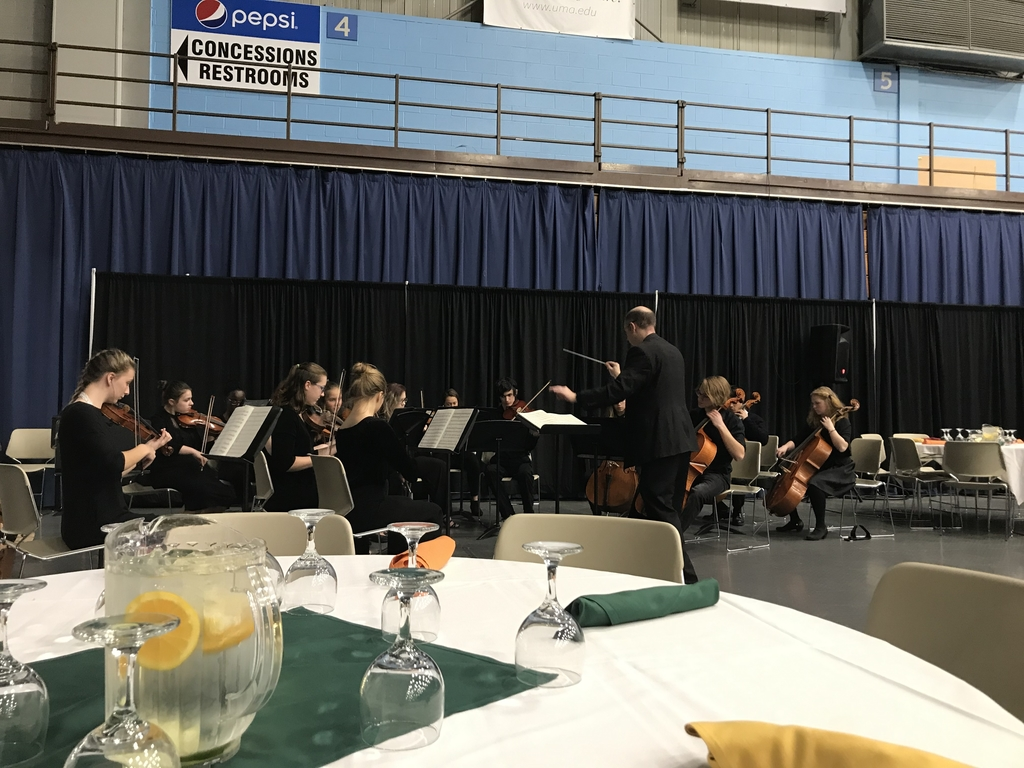 The Bangor High School Symphonic Orchestra warming up.